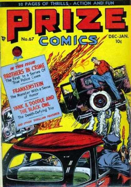 Prize Comics 67 - Car - Smoke - Water - Police - Fire