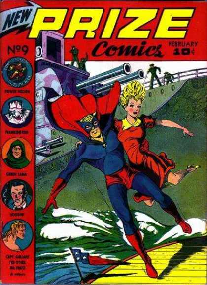 Prize Comics 9 - Large Battleship - Hero Saves The Girl - Men In Green Uniform With Guns - Superhero With Blue Mask - Issue Number 9