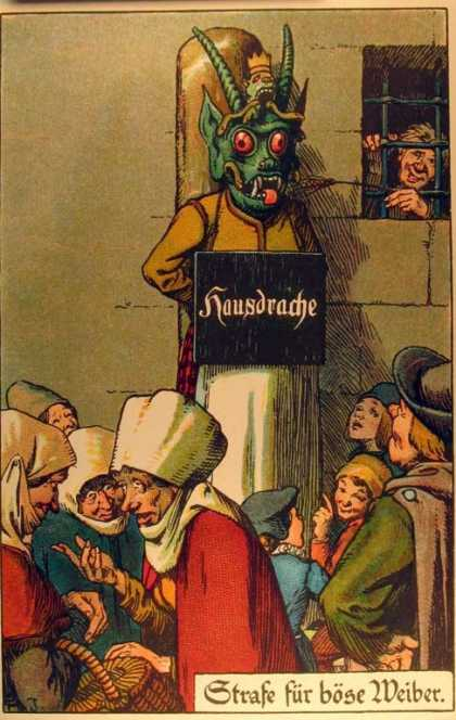 Public Punishment Postcards - <<House dragon -- punishment for evil broads>>