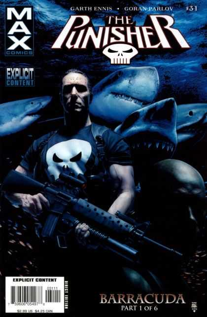 Punisher (2004) 31 - Great White Sharks - Machine Gun - Garth Ennis - Goran Parlov - Barracuda Part 1 Of 6 - Tim Bradstreet