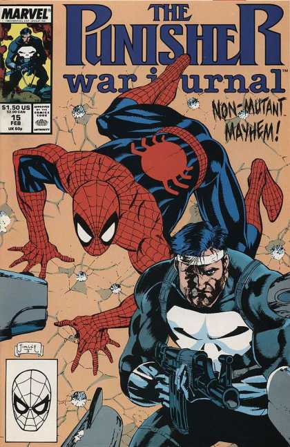Punisher War Journal 15 - Spiderman - Non-mutant Mayhem - Issue 15 Feb - Marvel Comics - Wall Climbing - Jim Lee