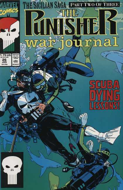 Punisher War Journal 26 - The Sicilian Saga - War Journal - Marvel Comics - Shark - Scuba Diving Lessons - Michael Golden