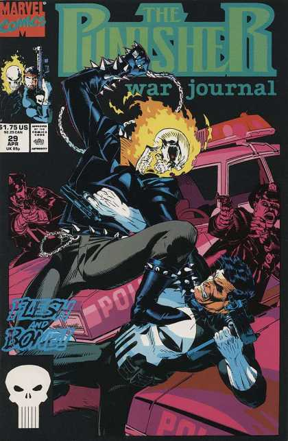 Punisher War Journal 29 - Skull - Police Car - Flesh And Bone - Chain Whip - Guns - Michael Golden