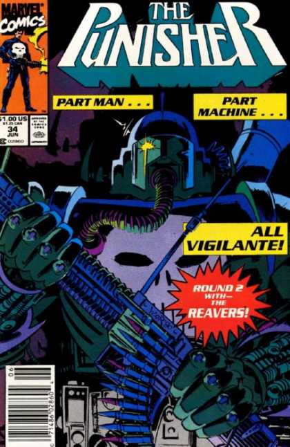 Punisher 34 - Round 2 With The Reavers - Part Man - Part Machine - All Vigilante - Machine Gun - Bill Reinhold, Tim Bradstreet