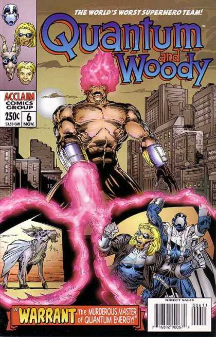Quantum & Woody 6 - The Worlds Worst Superhero Team - Warrant - The Murderous Master Of Quantum Energy - Goat With Cape - Buildings