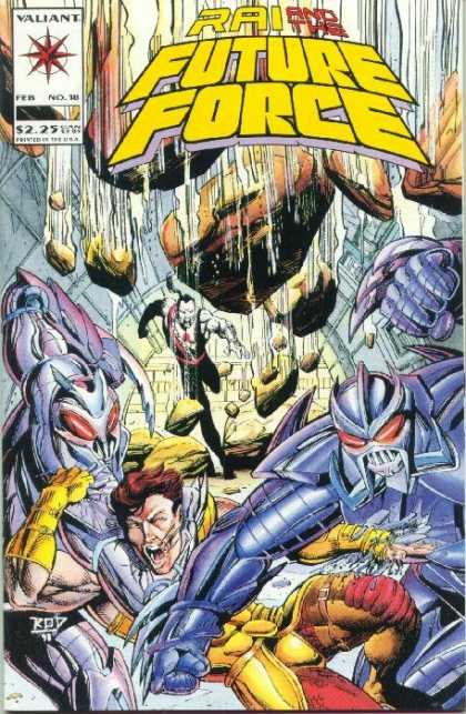Rai 18 - Future Force - Rocks Falling - Valiant Comics - Man Falling In Back Ground - Monsters Attacking Man