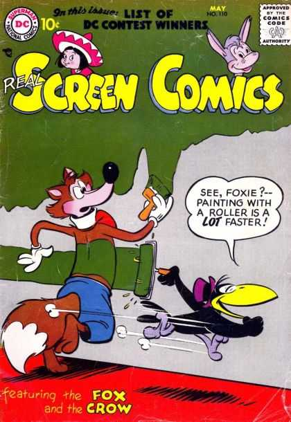 Real Screen Comics 110 - Superman National Comics - Approved By The Comics Code - Donkey - Girl - Crow