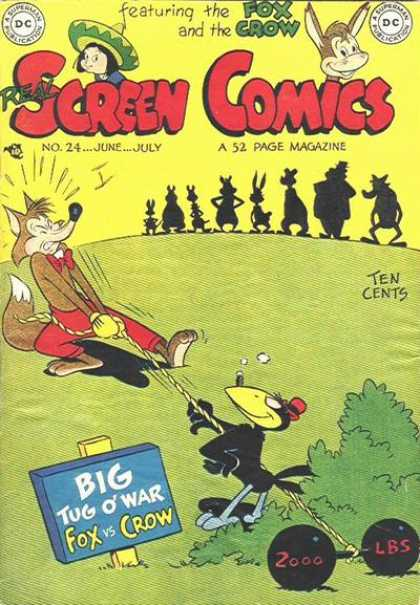 Real Screen Comics 24 - Fox And The Crow - Big Tug Of War - Fox Vs Crow - Ten Cents - 52 Page Magazine