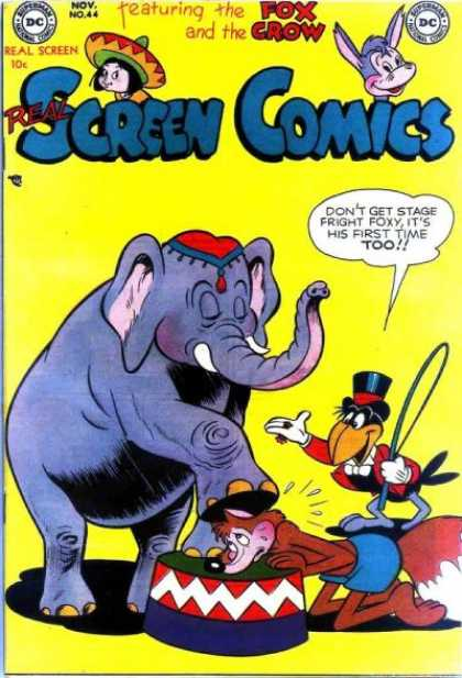 Real Screen Comics 44 - Fox And Crow Comic Book - Dc Comics 44 - Circus Performers - Stage Fright - Ringmaster Crow