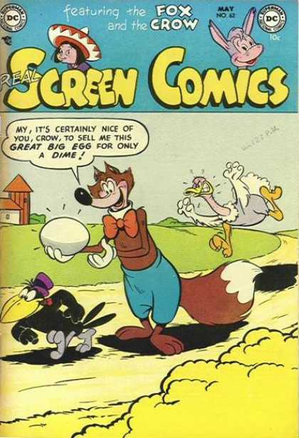 Real Screen Comics 62 - Ostrich - Crow - Fox - Egg - Red Bow Tie