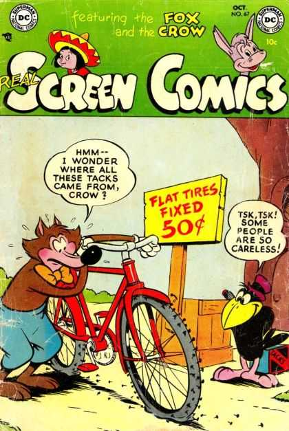 Real Screen Comics 67 - Fox - Crow - Flat Tire - Bicycle - Tacks