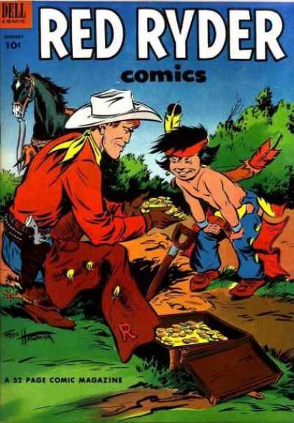 Red Ryder Comics 114 - Cowboy - Native American - Black Horse - Camping - Revolver