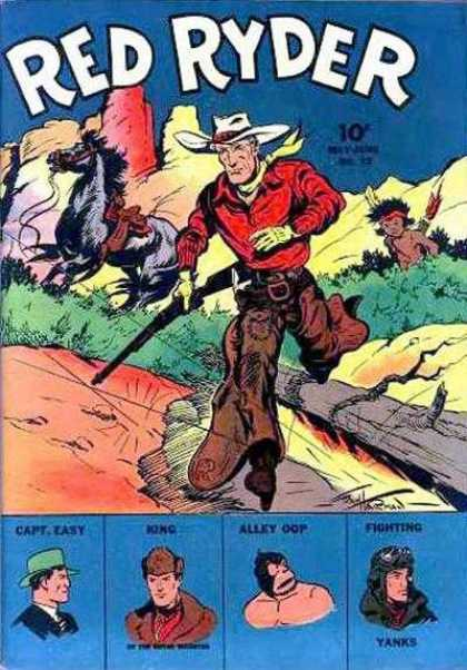 Red Ryder Comics 13 - Capteasy - Allky Oop - Fighting Yanks - Cowboys - Gun