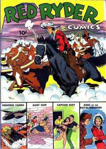 Red Ryder Comics 16 - Red Ryder - Horses - Indian - Air Plane - Captain Easy