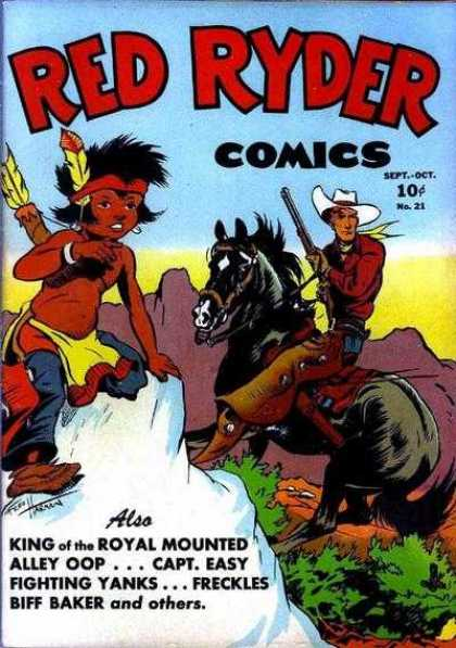 Red Ryder Comics 21 - Native American - Cowboy - Horse - Gun - Mountains
