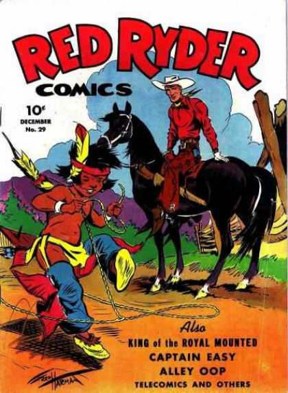Red Ryder Comics 29 - December No 29 - Cowboy - Horse - Lasso - Captain Easy