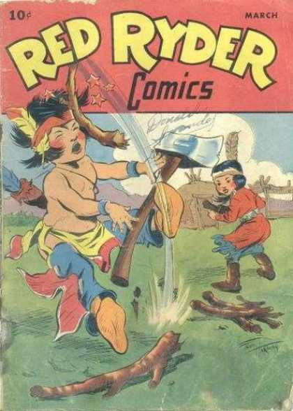 Red Ryder Comics 44 - Comics - March - Indians - Hammer - Funny Picture