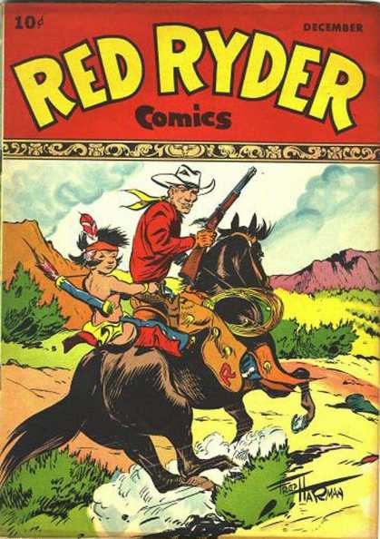 Red Ryder Comics 53 - Cowboy - Native American Child - Black Horse - Gallop - Mesa