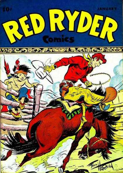 Red Ryder Comics 54 - Rider - Fred Harman - Fighting Cowboy - Angry Horse - Little Boy