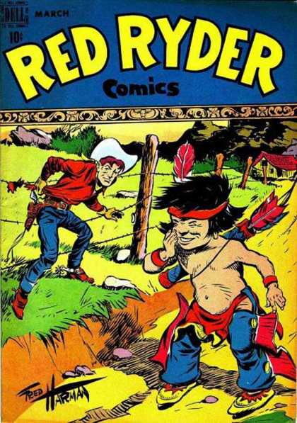 Red Ryder Comics 56 - March - Cowboy - Indian - Wire Fence - Weapon