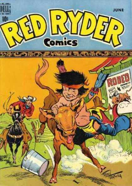 Red Ryder Comics 71 - Rodeo - Calf - Cowboy - Indian - Horse