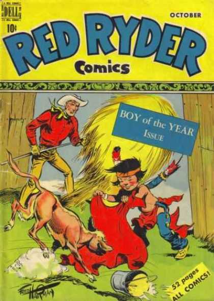 Red Ryder Comics 75 - Cowboy - Indian - Hay - Calf - Barn