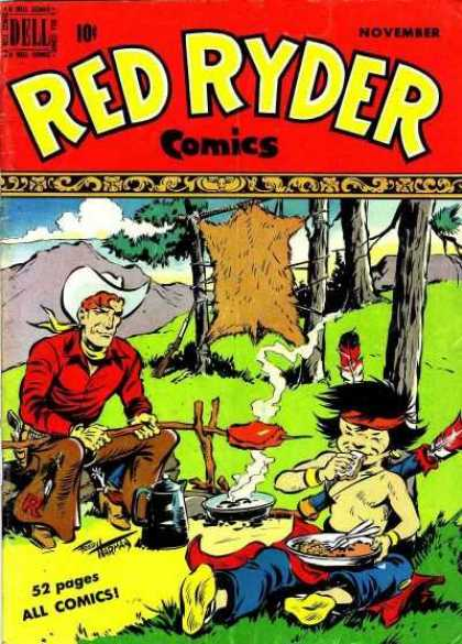 Red Ryder Comics 76 - Forest - Trees - Man - Cook - Fire