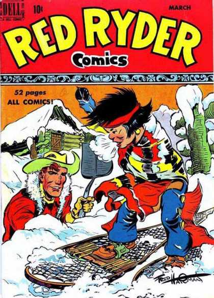 Red Ryder Comics 80 - Cowboy - Snowshoes - Cabin - Wood Fence - Shovel