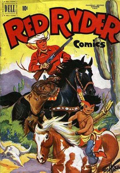 Red Ryder Comics 86 - Old Cowboy - Young Indian - Horses - The Old West - Gotcha