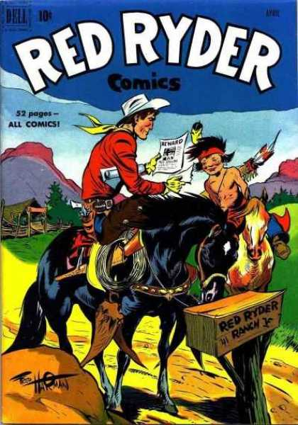 Red Ryder Comics 93 - Reward - Black Horse - Indian - White Hate - Ranch