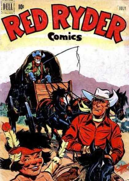 Red Ryder Comics 96 - Red Ryder - Covered Wagon - Cowboy - Horse Team - Indian