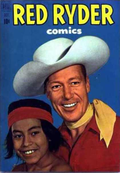 Red Ryder Comics 99 - Cowboy - Indian - Cowboy Hat - Red Head Band - Long Hair