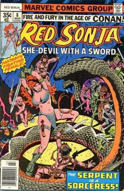 Red Sonja 8 - Fiesty Temptrest - Green Doom - Defeating The King Of Snakes - Red Haired Gladiator - The Yellow Eyed Viper - Frank Thorne