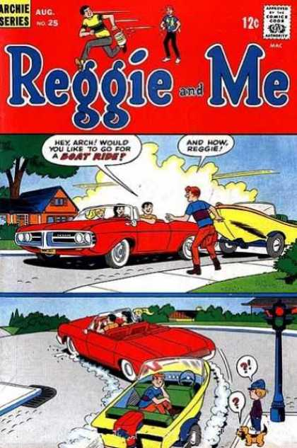 Reggie and Me 25 - Red Convertible - Yellow Boat - Hey Arch Would You Like To Go For A Boat Ride - Dog - Boy