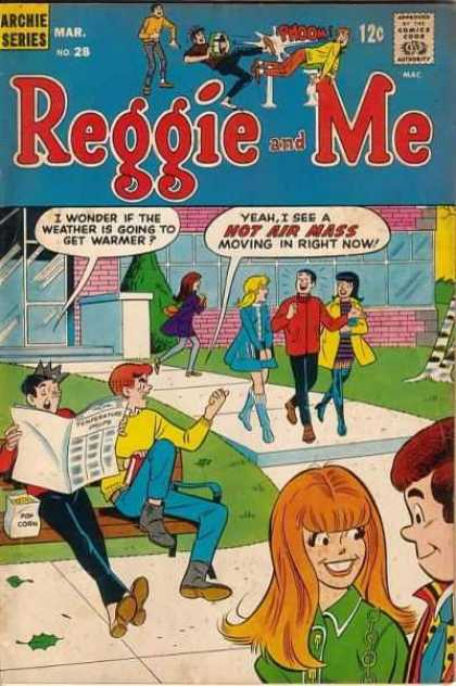 Reggie and Me 28 - Popcorn Bag - Warmer Weather Predicted - Archie And Jughead On Bench - Reggie Walking With Two Girls - Reggie Is Hot Air Mass