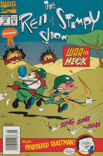 Ren & Stimpy Show 18 - War Is Heck - Explosions - Army Uniforms - Powdered Toastman - Flaming Marshmallow