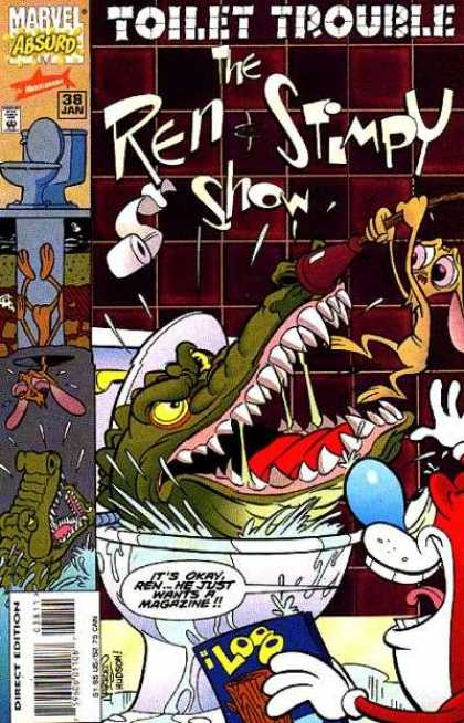 Ren & Stimpy Show 38 - Bathroom - Toilet - Alligator - Sewer - Toilet Paper Roll