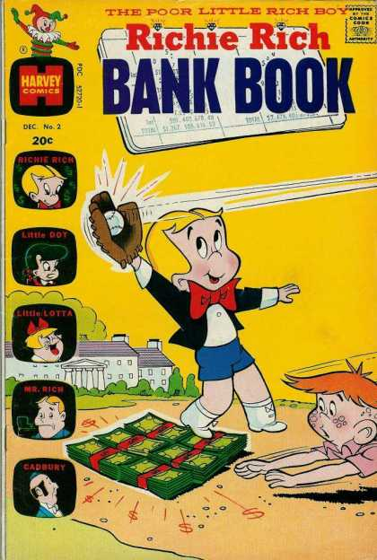 Richie Rich Bank Books 2 - Little Dot - Baseball - Money - Cadbury - Little Lotta