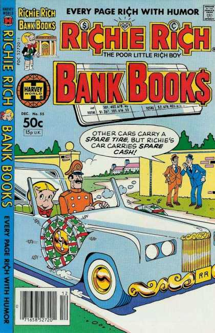 Richie Rich Bank Books 55 - Every Page Rich With Humor - The Poor Little Rich Boy - Chauffeur - Blue Car - Wall