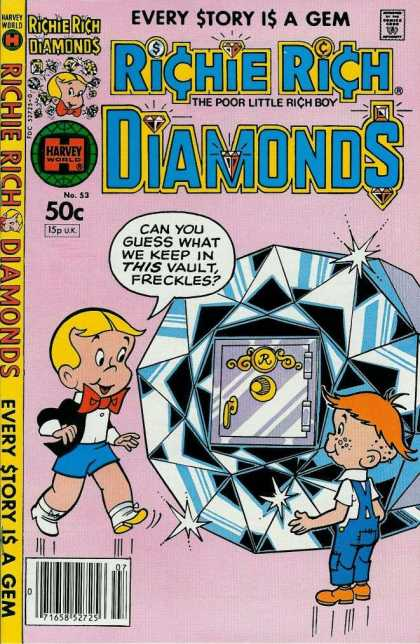 Richie Rich Diamonds 53 - Harvey World Comics - Red Bow - Vault - The Poor Little Rich Boy - Blue Overalls