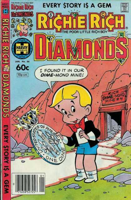 Richie Rich Diamonds 56 - Boy In Short Shorts - Big Silver Coin - Mine - Mountain - Large Dime