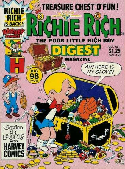Richie Rich Digest Magazine 1 - Harvey Comics - The Poor Little Rich Boy - Treasure Chest O Fun - Join The Fun - Baseball Glove