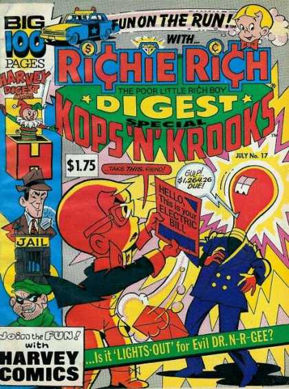 Richie Rich Digest Magazine 17 - Fun On The Run - The Poor Little Rich Boy - Kops N Krooks - Harvey Comics - Is It Lights-out For Evil Dr N-r-gee