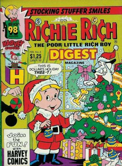Richie Rich Digest Magazine 5 - Stocking Stuffer Smiles - The Poor Little Rich Boy - Harvey Comics - Big 98 Page - Join The Fun