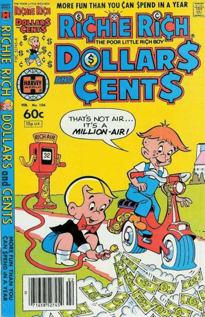 Richie Rich: Dollars & Cents 106 - Scooter - Air Pump - Sidewalk - Redhead - Overalls