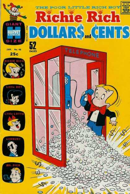 Richie Rich: Dollars & Cents 46 - Red Phone Booth - The Poor Little Rich Boy - Coins - Blue Pay Phone - Red Bowtie