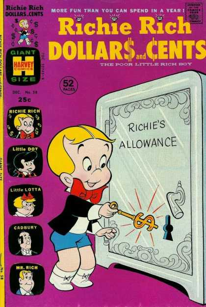 Richie Rich: Dollars & Cents 58 - Blond Hair - Giant - Safe - Key - Dollar