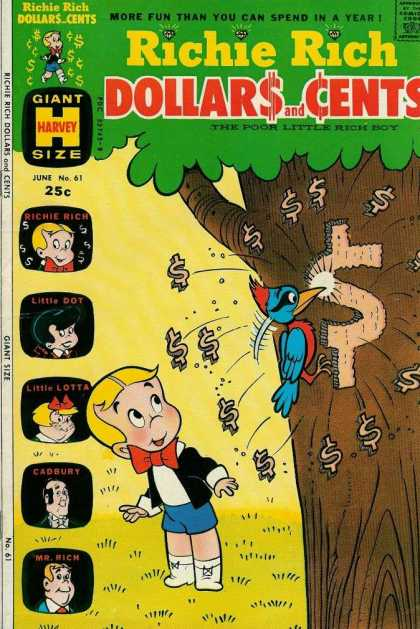 Richie Rich: Dollars & Cents 61 - Woodpecker - Dollar Sign - Tree - Carve - Yellow