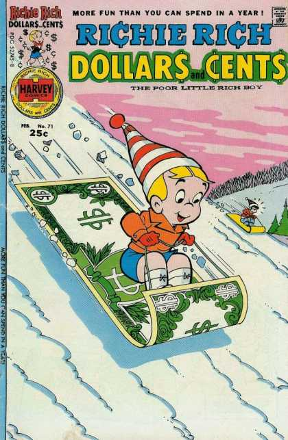 Richie Rich: Dollars & Cents 71 - More Fun Than You Can Spend In A Year - Yhe Poor Little Rich Boy - Harvey Comics - Red Woollen Hat - Little Boy