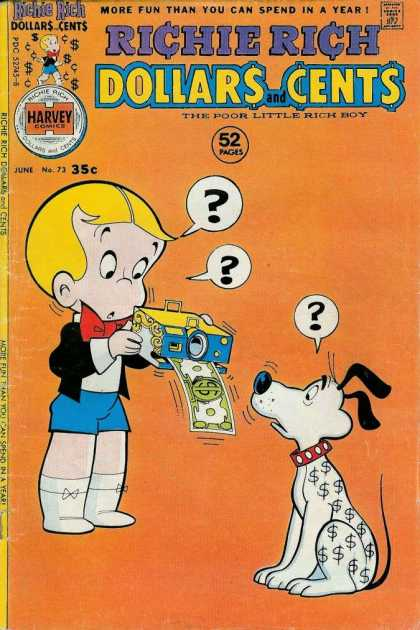 Richie Rich: Dollars & Cents 73 - Money Signs On White Dog - Three Question Marks - Money Machine - 52 Pages - More Fun Than You Can Spend In A Year